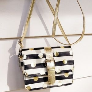 Handbags - Metallic Gold Polka Dot Crossbody